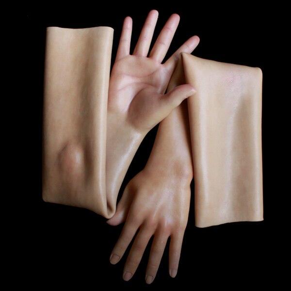 Силиконовые женские перчатки реалистичные с текстуру кожи G-3TD CD трансвеститом переодеванию