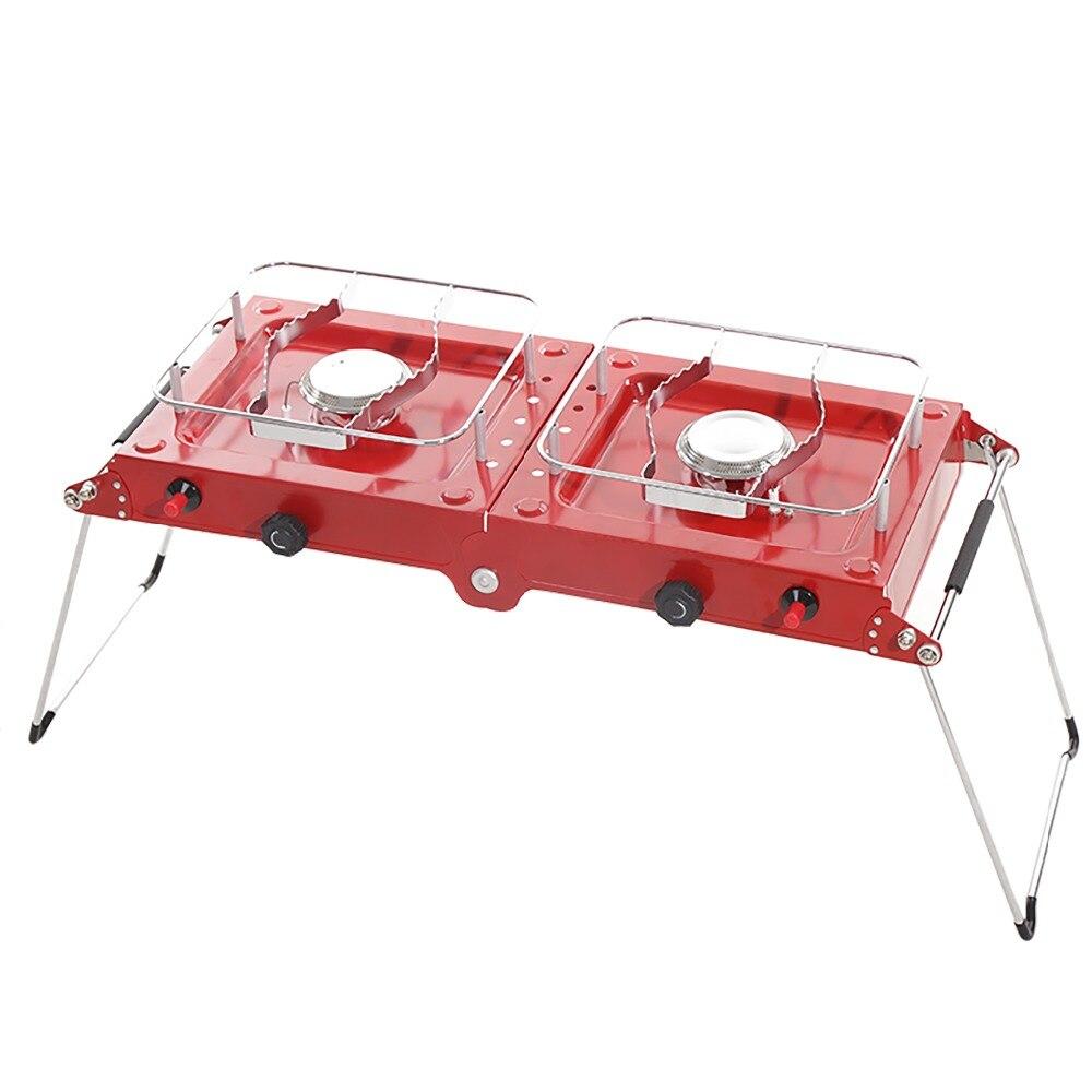 2 brûleurs Portable camping poêle propane butane cuisinière à gaz en plein air léger pliant cuisinière camping équipement de cuisson