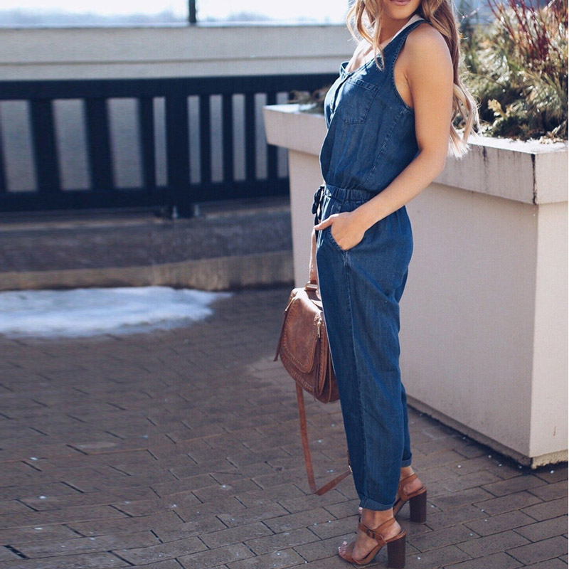 2018 Hot Sale Listing Casual Ladies Button Round Neck Sleeveless Lace Up Jumpsuit Casual Romper Women Jumpsuit Overalls Women