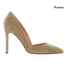 Aiyoway Fashion Women Shoes Pointed Toe High Heels Pumps Autumn Spring Party Shoes Slip-On Faux Suede heels Beige Grey Green light khaki dress shoes suede faux leather round toe pumps platform leopard high heels slip on women shoes real photo us14