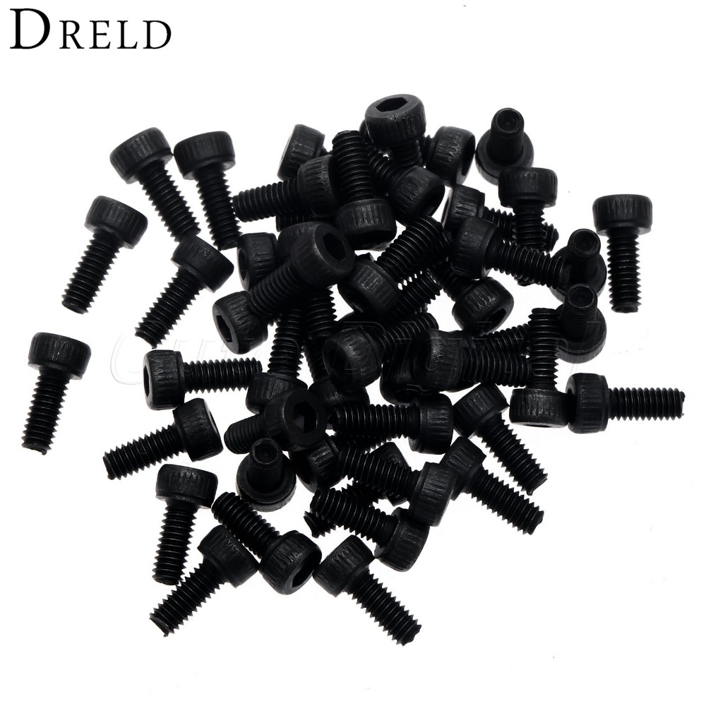 50Pcs M2.5 Bolt Screw Black 6mm Stainless Steel Screw Metric Pan Head Hexagon Cap Screws Hex Socket Nut Screw for Furniture Wood 2pc din912 m10 x 16 20 25 30 35 40 45 50 55 60 65 screw stainless steel a2 hexagon hex socket head cap screws