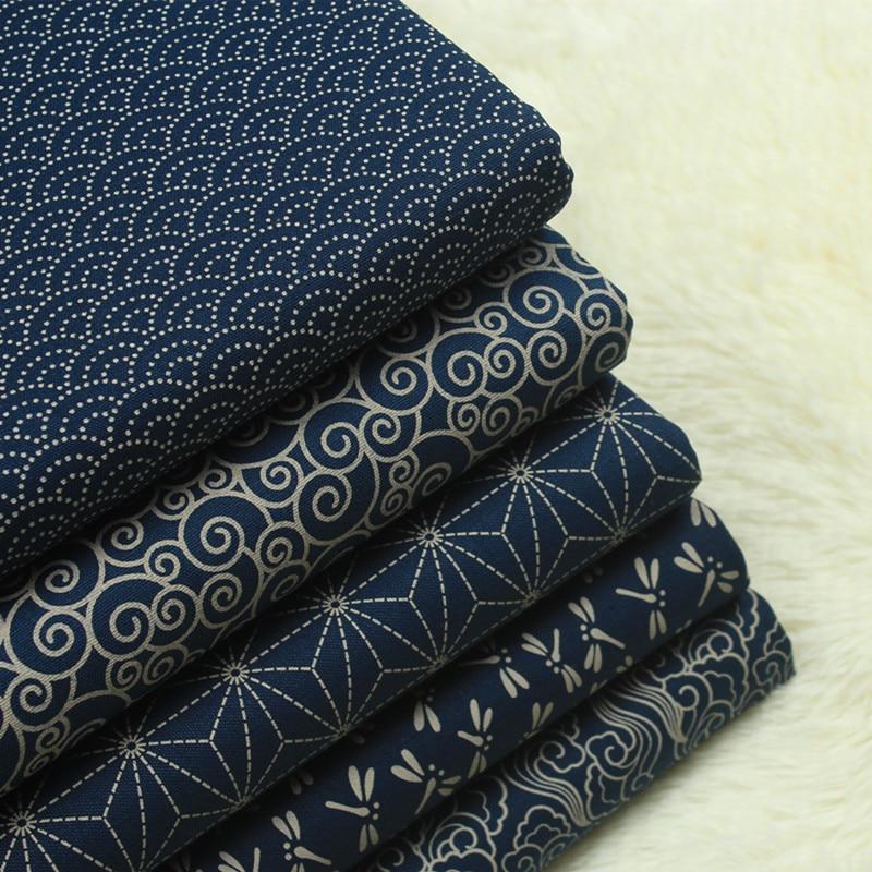 45x110cm Japan Style Cotton <font><b>Linen</b></font> Fabric Navy Blue Color National Prints Sewing Fabric for <font><b>Handbags</b></font>/Clothing DIY Patchwork