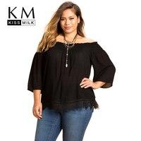 Kissmilk Plus Size Women Clothing Lace Patchwork Bottom Slash Neck Tops Solid Cold Shoulder Blouse Shirt Casual Big Size Shirt