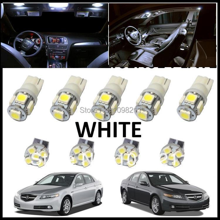 Led lights interior package 9pcs set white kit for acura tl 2004 2008 in car headlight bulbs led 2004 acura tl led interior lights
