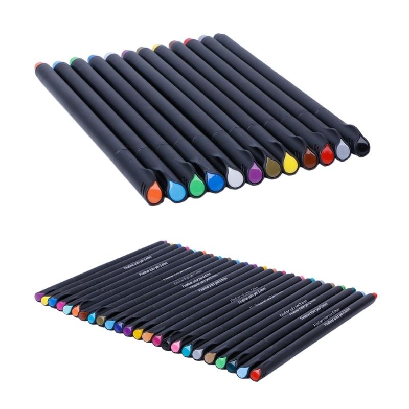 Fineliner 12 / 24 Colors Pen Set 0.4mm Fine Tip Line Writing Drawing Marker Pen цена