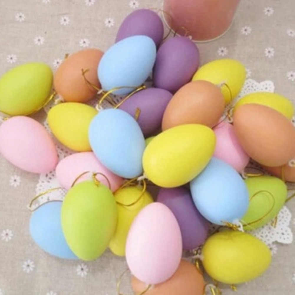 1 piece color random easter decoration for kids children diy painting egg with rope gifts plastic