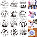 30Pcs/LOT Halloween Nail Stamping Kits Jelly Stamper Scraper Nail Art Round Stainless Stamping Template DIY Bat Pumpkin DXE01-30