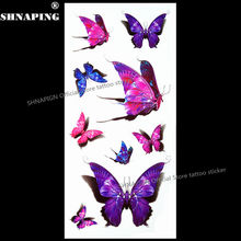 SHNAPIGN 3d Temporary Tattoo Body Art Flash Tattoo Stickers 19x9cm Waterproof Styling Tatoo Home Decor Sticker Purple Butterfly