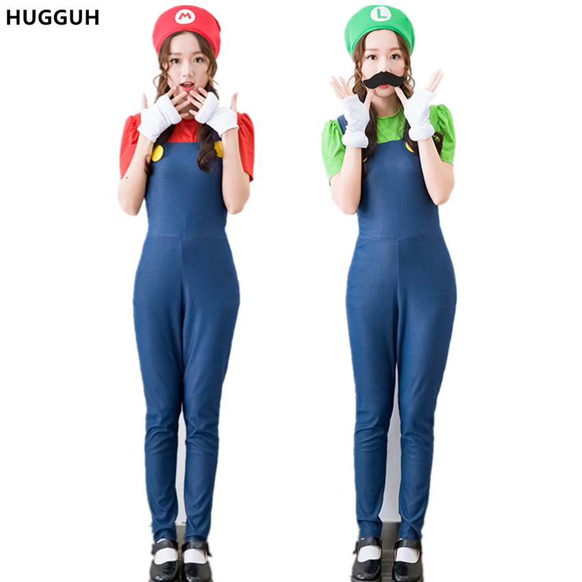 HUGGUH Brand New Female Clothing Set Halloween Costume Cosplay Super Mario Costume Girls Clothes Sexy Women Jumpsuits H169214