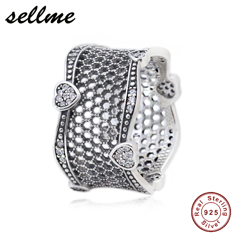 где купить 2018 Pre Autumn 925 Sterling Silver Original Mesh with Hearts Pan Ring With Clear CZ For Women Charm Gift DIY Jewelry по лучшей цене