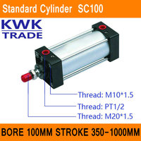 SC100 Standard Air Cylinders Valve CE ISO Bore 100mm Strock 350mm to 1000mm Stroke Single Rod Double Acting Pneumatic Cylinder