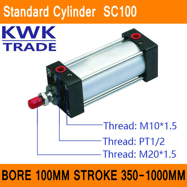 SC100 Standard Air Cylinders Valve CE ISO Bore 100mm Strock 350mm to 1000mm Stroke Single Rod Double Acting Pneumatic Cylinder connector 6469294 1 connector