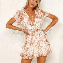 Cuerly Summer ruffle floral print bow short dress women Elegant party sexy beach chiffon female Casual daily cute L5