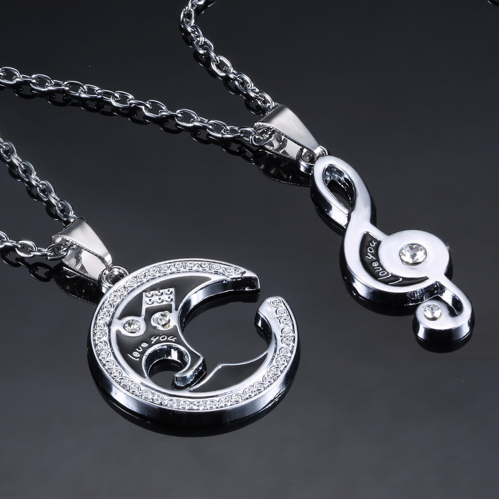 HTB1nlOXcvQs8KJjSZFEq6A9RpXaP - 2 pcs/pair Couple Necklace For Lover Girlfriend Gift Set Musical note Valentine's Day Necklace For Women Jewelry Paired Pendants