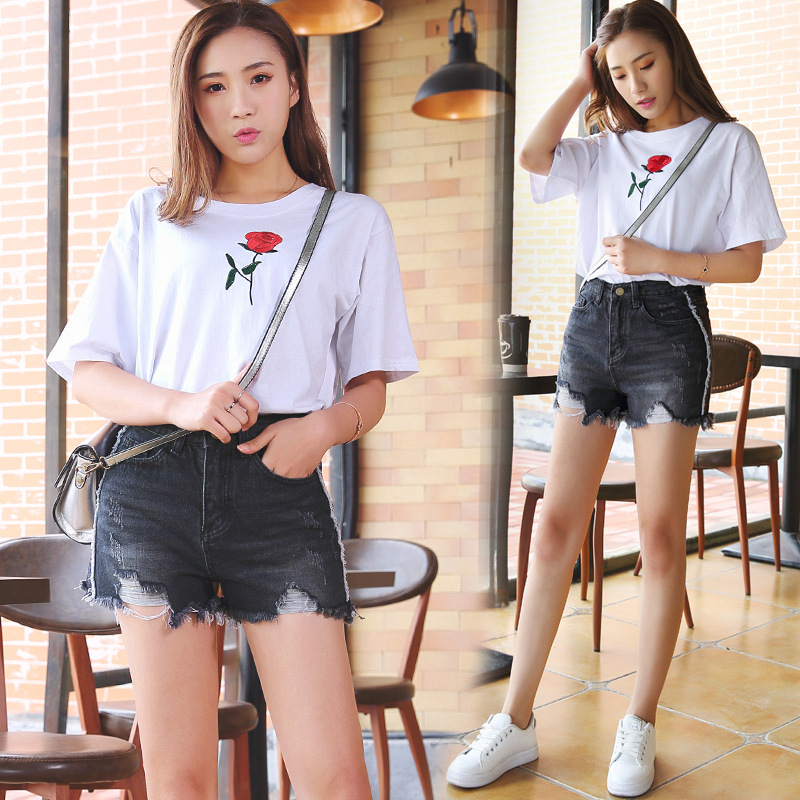 2017 women clothing solid color Mid waist Mesh spliced raw edge washed denim shorts Female fashion casual slim short jeans 3323 edge clothing 10569