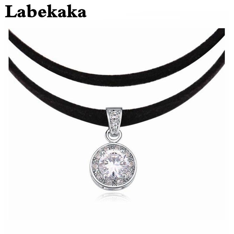 Labekaka Luxury Torques Necklaces For Women Round Zircon Double Rope Chain Statement choker Necklaces Fashion Wedding Jewelry