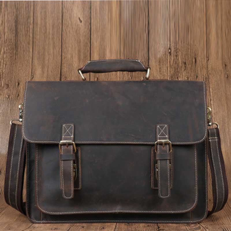 YISHEN Vintage Genuine Leather Men Briefcase Fashion Casual Handbags Male Shoulder Crossbody Bags Business Messenger Bags 6912