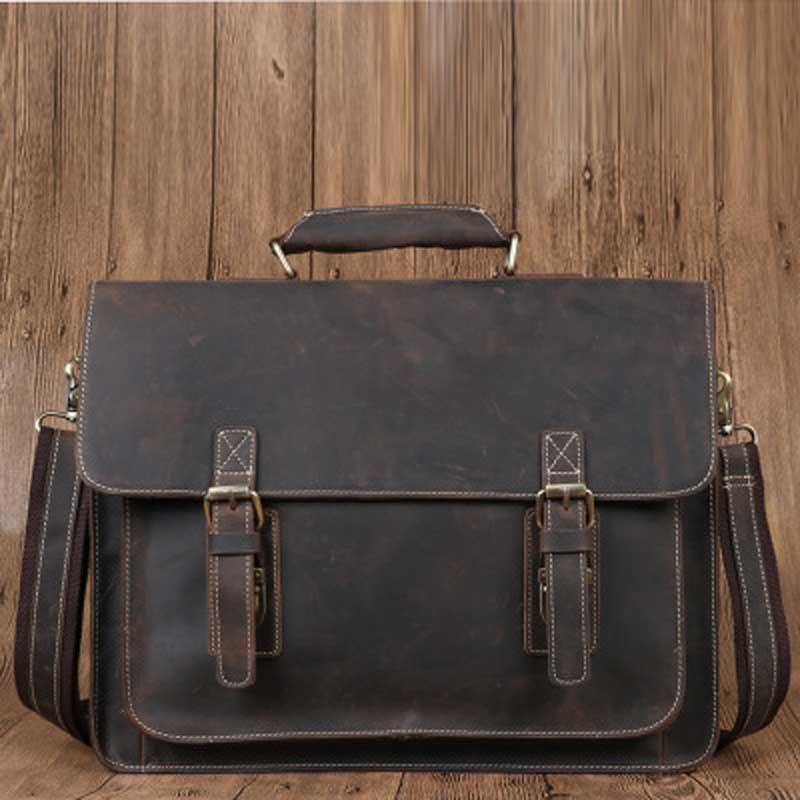YISHEN Vintage Genuine Leather Men Briefcase Fashion Casual Handbags Male Shoulder Crossbody Bags Business Messenger Bags 6912