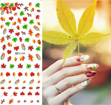 DS090 Leaves Nail Design Water Transfer Nails Art Sticker Maple Leaf Nail Wraps Sticker Tips Manicura Autumn Fall