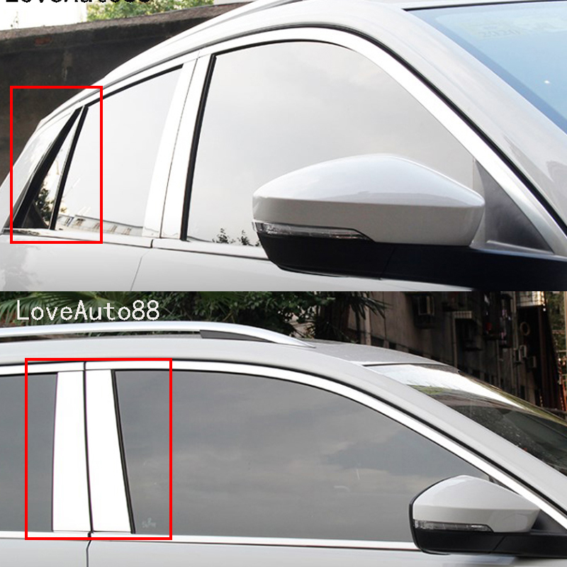 Car Body Middle Column Side Cover Frame Trim Sticker Exterior Accessories Auto Window Frame 8Pcs For Volkswagen VW T Roc Troc in Car Stickers from Automobiles Motorcycles