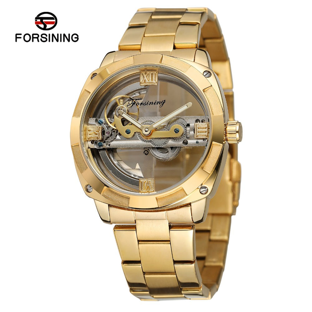 New Arrival Luxury Brand Golden Tone Double Side Men's Watch Automatic Self Wind Wristwatches Stainless Steel Band Nice Gift все цены