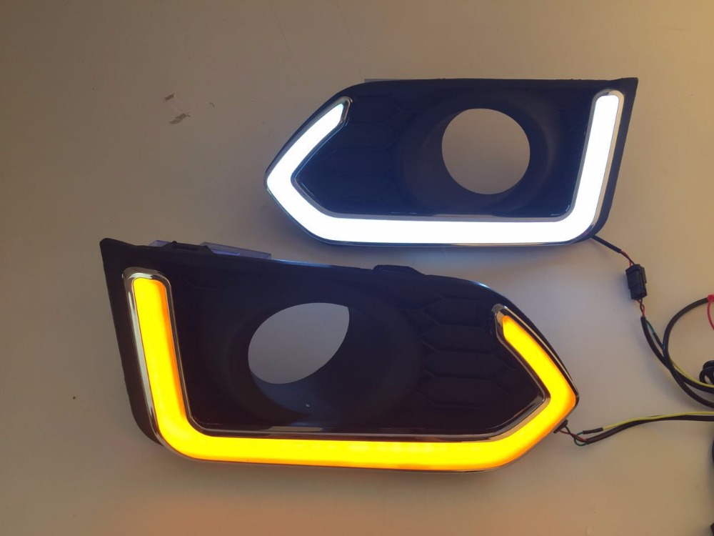 eOsuns LED daytime running light DRL fog lamp for Honda city 2017-2018, wireless switch, yellow turn signal eosuns led daytime running light drl for ford focus 4 2015 yellow turn signal blue night light wireless switch