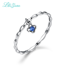 L kホワイトゴールド天然小さな青い石サファイア花トレンディ党指輪女性のためのウェディングバンドファインジュエリー0012-1 14 &