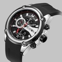 MEGIR Brand Watch Army Sports Quartz Watches Men Black Silicone Strap Military Marine Chronograph Wristwatch for Man Relogios
