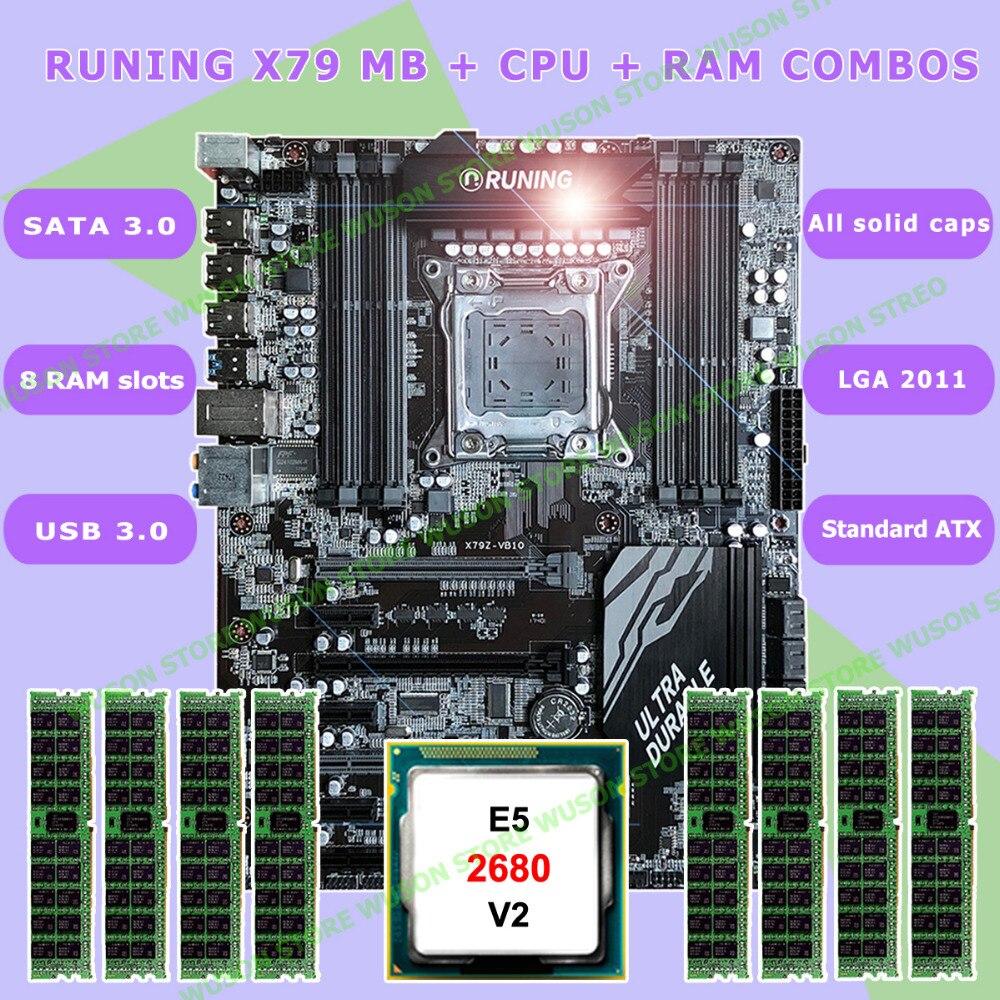 Новинка! подножка супер ATX X79 LGA2011 материнская плата 8 DDR3 слотов DIMM max 8*16 г памяти Xeon E5 2680 V2 Процессор 32 г (8 * 4G) 1333 мГц DDR3 RECC