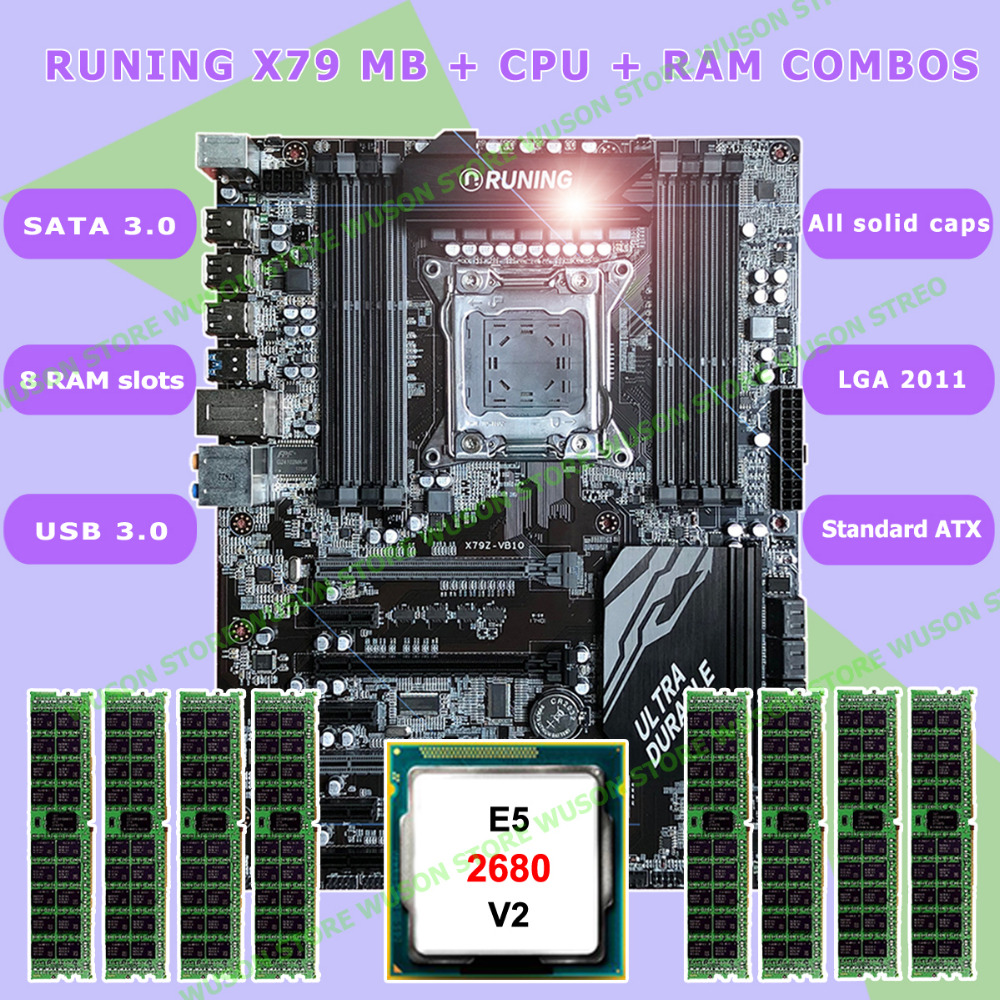 Nouveau!! Runing Super ATX X79 LGA2011 carte mère 8 DDR3 DIMM slots max 8*16G mémoire Xeon E5 2680 V2 CPU 32G (8*4G) 1333 MHz DDR3 RECC
