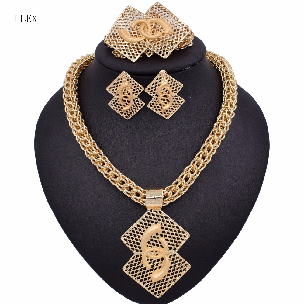 New Exquisite Dubai Gold Color Big Jewelry Sets Nigerian Wedding woman accessories jewellery African Beads Set For Women