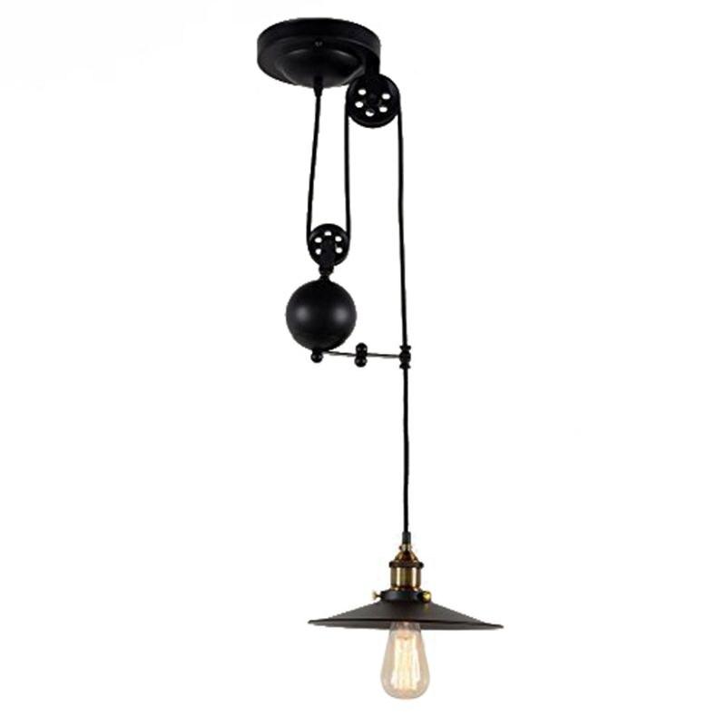 Retractable Hang Light Vintage Loft Industrial Pendant Lights Adjustable Max Drop 1.5m Wire Lamps,diameter 26cm 2m single-headedRetractable Hang Light Vintage Loft Industrial Pendant Lights Adjustable Max Drop 1.5m Wire Lamps,diameter 26cm 2m single-headed