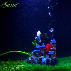 Image 2 - Creative Castle Aquarium Decoration Resin Mountain View Fish Tank Ornaments Waterwheel Air Stone Green Tree Aquarium Accessories