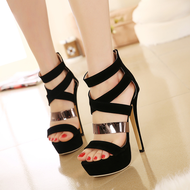 dbc610049b1bc Roman style women gladiator sandals black metal strap sexy high heel shoes  prom gown party size 35 to 40