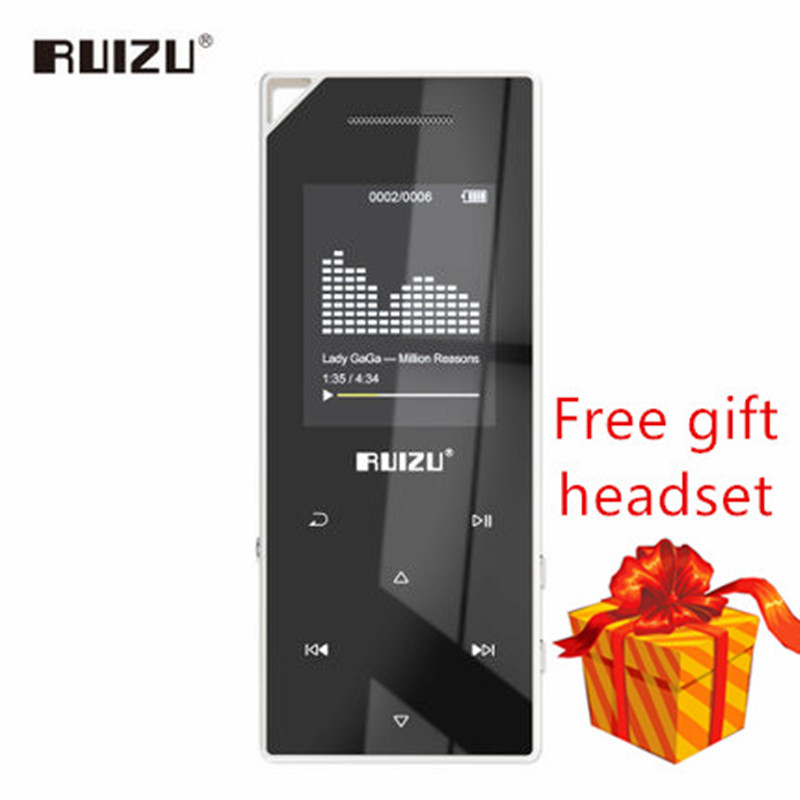 цена на New product RUIZU D05 Mp3 bluetooth player 8Gb 16G storage 1.8-inch screen play high quality Fm radio e-book music MP3 player