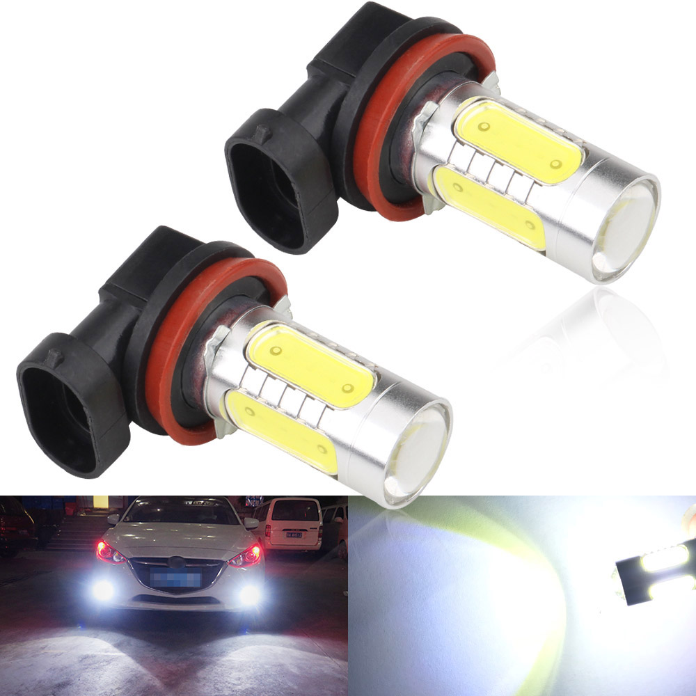 2Pcs White H8 lamp H11 LED COB Bulb Car Auto Light DRL Driving Fog Lamp 12V DC стоимость