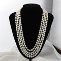 Real 100 inches 7mm A white rice shape natural freshwater pearl necklace for woman genuine cultured pearl necklace free shipping