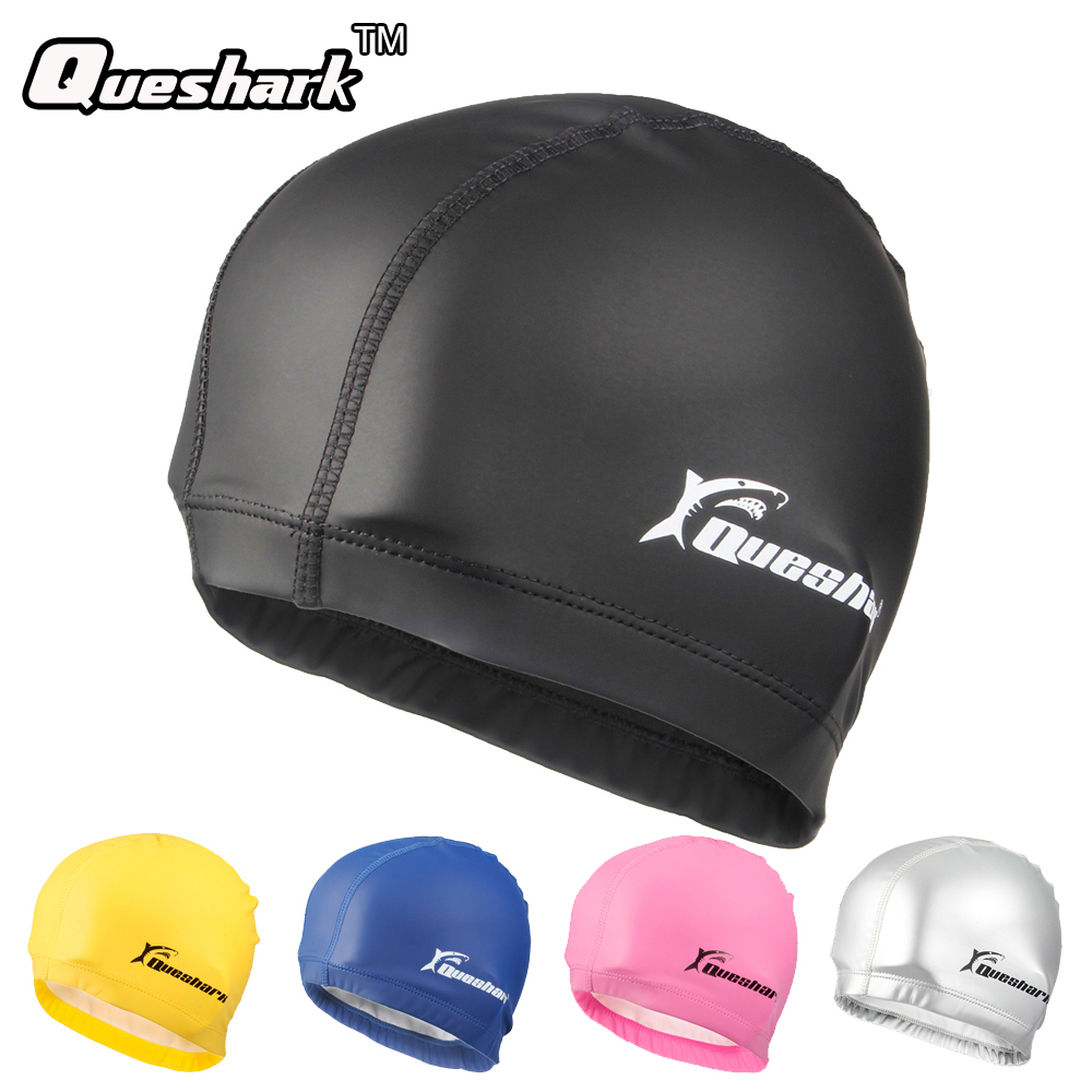 Men & Women Free size Elastic Waterproof PU Swim Cap Fabric Protect Ears Long Hair Sports Swim Pool Hat Diving Swimming Cap