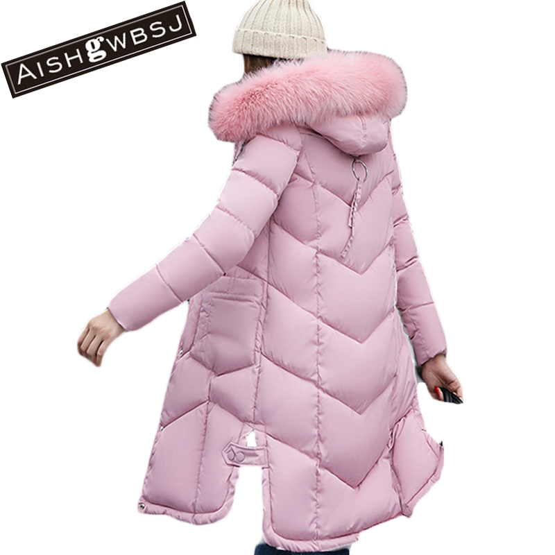 AISHGWBSJ Winter Women Jacket 2017 New Hooded Female Cotton Coats Padded Fur Collar Parkas Plus Size Overcoats PL155 aishgwbsj winter women jacket 2017 new hooded female cotton coats padded fur collar parkas plus size overcoats pl155