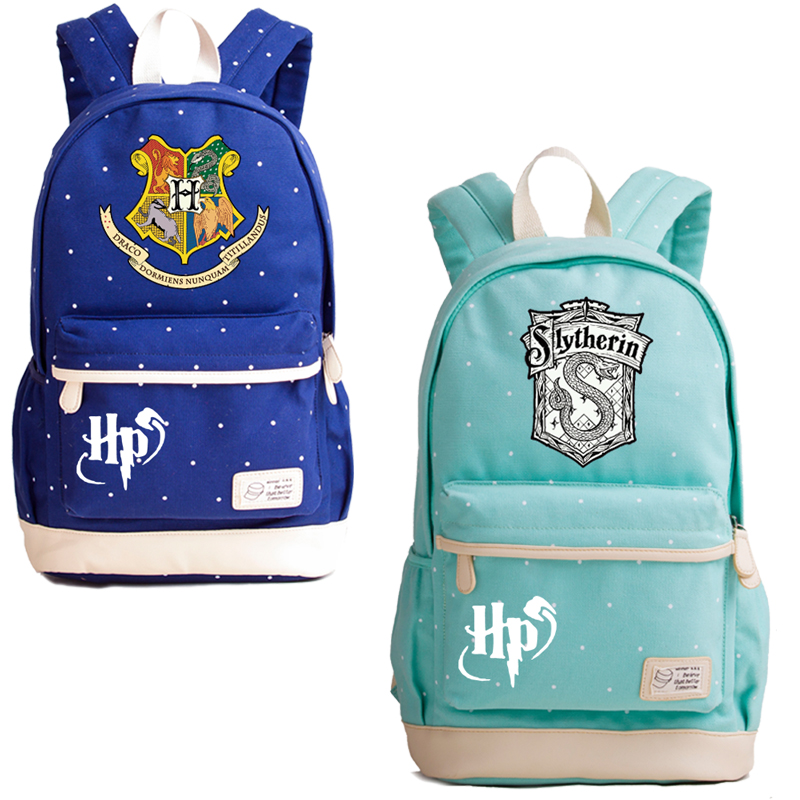 New Wave Point Summer Women Bags Harry Potter Gryffindor Slytherin School Bags For Teenage Girls Canvas Laptop Backpack