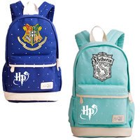 2018 New Wave Point Summer Women Bags Harry Potter Gryffindor Slytherin School Bags for Teenage Girls Canvas Laptop Backpack