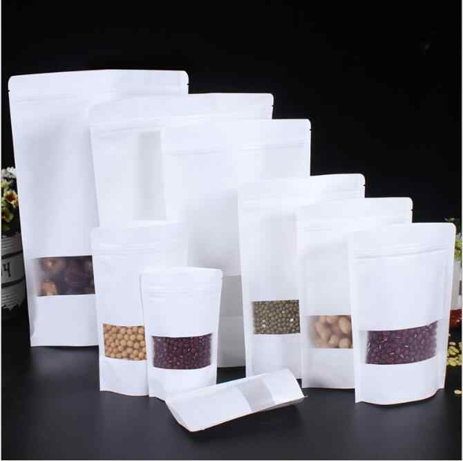 Stand Up Frosted White Paper Packaging Bag With Window Candy Snacks Pastry Zip Lock Bag Reusable Heat Seal Food Package Pouch