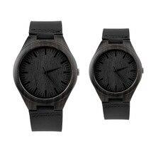Старинных Классических Черного Дерева деревянные часы деревянные часы ремешок кварцевые часы Мужчины Женщины Пара браслет Часы relogio