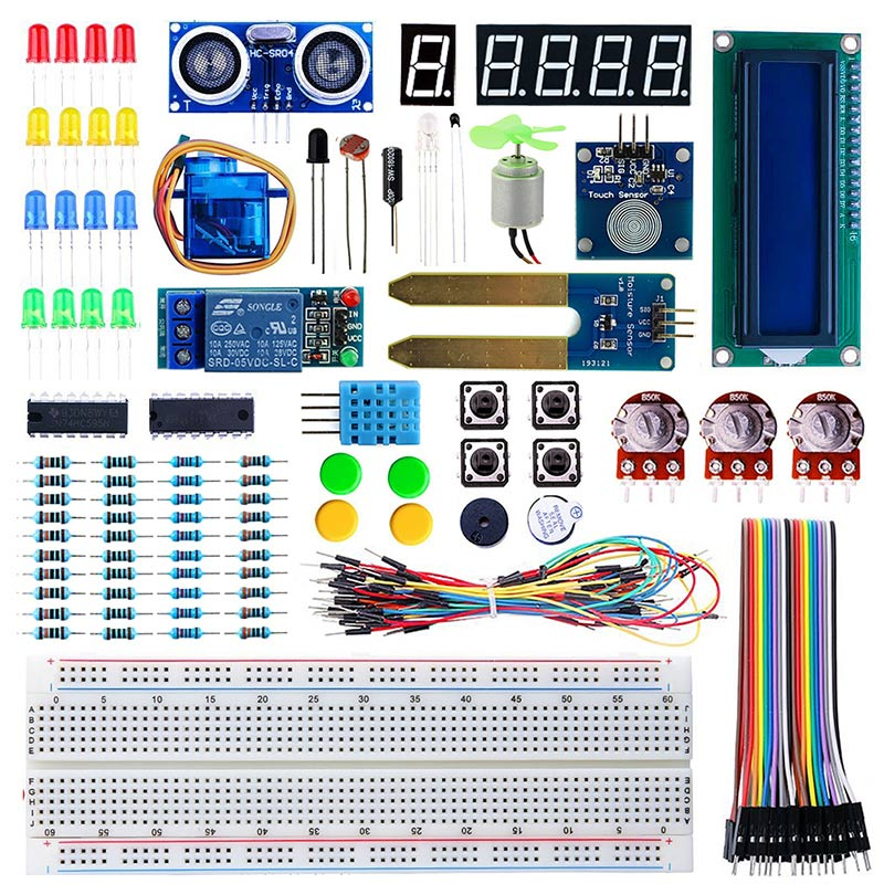 Elecrow Starter Kit for Arduino Beginners Students Kids Display Sensor DC Motor Wires Electronic DIY 24 Lessons with Retail Box