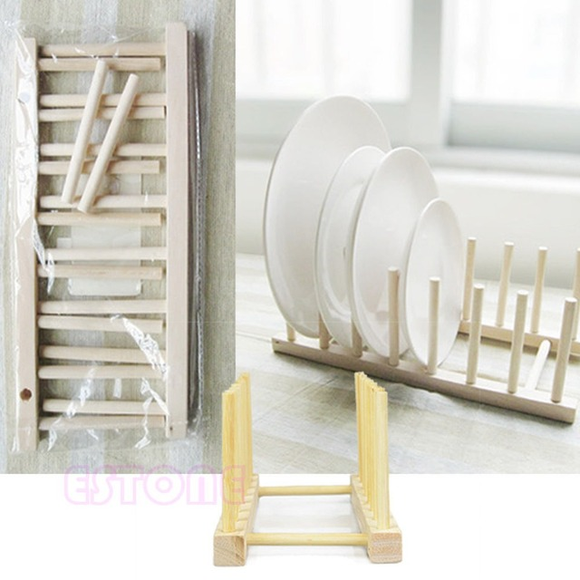 2015 New New Wooden Drainer Plate Stand Wood Dish Rack 7 Pots Cups ...