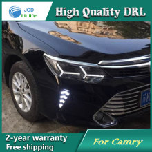 high quality ! daytime Running Light Fog light High Quality LED DRL case for Toyota Camry 2015 2016 fog lamp 12V 6000K