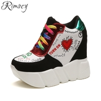 Rimocy Fashion Colorful Graffiti Lace Up Women Height Increased Casual Shoes Woman Wedges Hidden Heel Platform