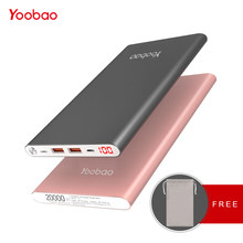 Yoobao A2 Power Bank 20000mAh 2 USB PowerBank Portable Charger External Battery Poverbank For iPhone 7 6 5 4 X 8 For Xiaomi Mi(China)