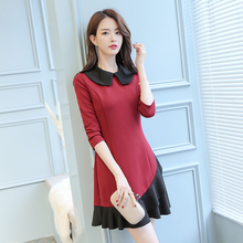 Spring 2019 New Dress Peter Pan Collar Stitching Slim Long Sleeve Wine Red/Gray Green