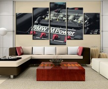 Canvas Painting 5 Pieces HD Printed M Power Car Engine Modern Decorative For Living Room Frame Art Decoration